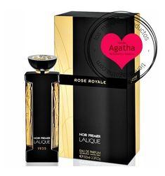 """Lalique Noir Premier Rose Royale Eau de Parfum 100 ml es un perfume de la exclusiva colección de fragancias Noir Premier de la marca de perfumería Lalique.  """"Rose Royale"""" es una fragancia floral, en el que destacan también tonos amaderados. Este perfume se inspira en la apertura de la primera tienda de la marca."""