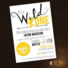 Wild One Birthday Invitation Where the by OneSparkPrintableArt