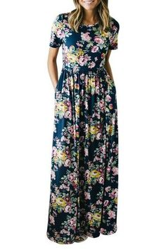 Women's Floral Print 3/4 Sleeve Pockets Casual Swing Pleated Long Maxi Dress
