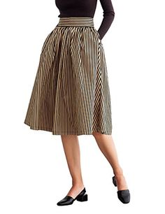 d1b630235df2 Simple Retro Women s 50s High Waist Pleated A line Midi Skirt (M