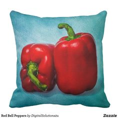 Red Bell Peppers Throw Pillow