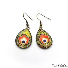 Japanese inspired cabochon earrings made in only one copy! Jewelry n°141