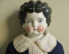 """ANTIQUE VINTAGE 1890's CHINA HEAD DOLL, 28"""""""