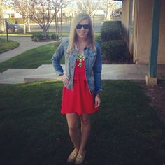 High low dress, statement necklace, Jack Rogers, jean jacket and Ray Bans Preppy at its finest #lifesapartydli