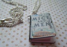 OF MICE AND MEN BOOK CHARM  silverplated necklace £8.00