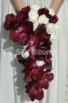 orchid wedding bouquets   Bridal Bouquet with Ivory Roses and Burgundy Orchids Cascading Bridal ...