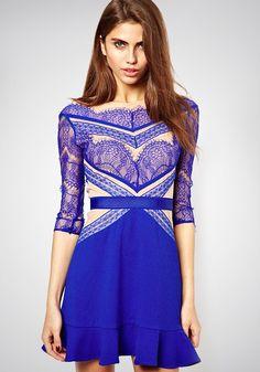 Blue Patchwork Lace Falbala Dress