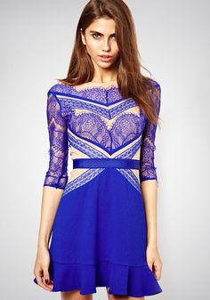 Blue Patchwork Lace Falbala Dress