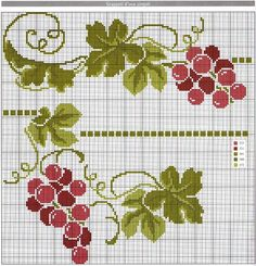 Beginning Cross Stitch Embroidery Tips - Embroidery Patterns Cross Stitch Fruit, Cross Stitch Kitchen, Cross Stitch Borders, Cross Stitch Flowers, Cross Stitch Charts, Cross Stitch Designs, Cross Stitching, Cross Stitch Patterns, Ribbon Embroidery