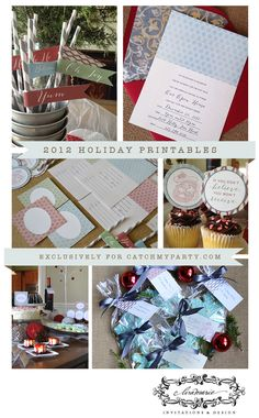 Free Christmas printables including invitations, wine bottle tags and more