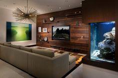 Contemporary Family Room with Saltwater Aquarium