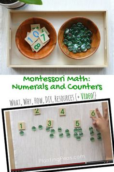 Montessori Math - Montessori numerals and counters activity. Visit this website for the What/Why/How/DIY/Resources + a Video of a 3 year old doing the work! (http://plantingpeas.com/montessori-numerals-and-counters/ )