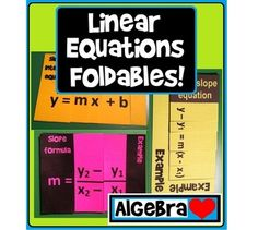 28% off today. Linear Equations Foldables for an Algebra Interactive Notebook (or just for fun!)