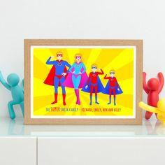 Superhero Family Print Family Portrait Custom Portrait