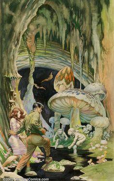 "Original Comic Art:Paintings, Frank Frazetta - Original Watercolor Painting, ""The Secret People""(Lancer, Frank Frazetta began his career with ACE . Frank Frazetta, Comic Book Artists, Comic Books Art, Comic Art, Arte Sci Fi, Space Ghost, Fantasy, Robert E Howard, Illustrator"