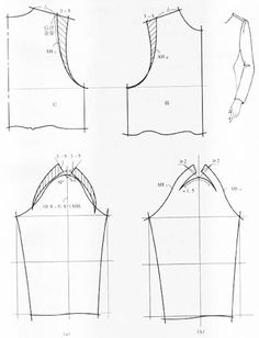 sleeves Tailoring Techniques, Techniques Couture, Sewing Techniques, Tunic Sewing Patterns, Dress Making Patterns, Clothing Patterns, Bodice Pattern, Jacket Pattern, Sleeve Pattern