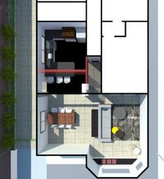 Nesta simulação em 3d indicamos em vermelho translúcido as paredes que foram removidas com o objetivo de aumentar a cozinha e integrá-la a sala. O antigo lavabo e área de serviço deram lugar a um balcão de refeições, e o pilar e a viga que ficaram no lugar original foram tratados com textura de concreto. Projeto arquitetônico Marcella Romanelli
