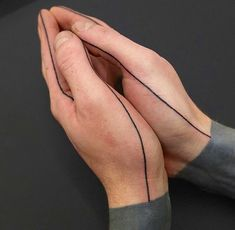 Geometric line tattoo around the hands. I love tattoos like these, so odd and understated #line #hand #tattoo