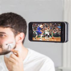 This phone case allows you to watch, take photos, or face time hands free. The case is made with tons on micro suction cups that allow you to mount your phone anywhere for anything.