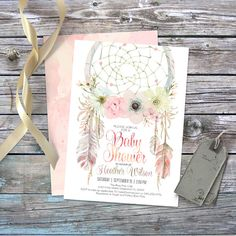 Dreamcatcher boho baby shower invitation. Digital printable files. Feathers, bohemian, watercolor, 5x7 card, baby girl. Customisable. 002CMP