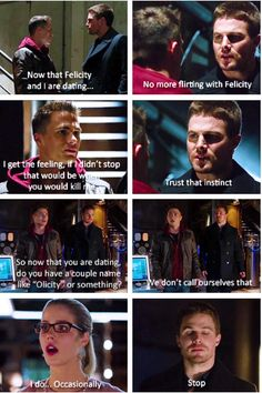 hahahahahaha this is too funny! Oliver warning Roy to stop flirting with Felicity now that they're 'dating'