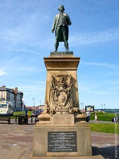 Captain James Cook's Statue in Whitby, North Yorkshire, UK - On West Cliff, overlooking the harbour you'll find this statue of Captain James Cook – the famous British Naval explorer. Not only did James Cook learn seamanship in the area but Whitby built his first ship, the HMS Endeavour. They are obviously very proud of their maritime association with him.