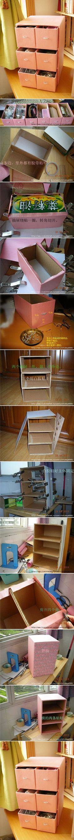 ideas diy storage cardboard craft rooms for 2019 Cardboard Furniture, Cardboard Crafts, Diy Furniture, Cardboard Drawers, Cardboard Storage, Craft Organization, Craft Storage, Diy Storage Boxes, Drawer Storage