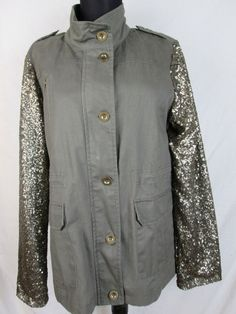 New Military Green and Gold Sequin Jacket Size L #ChezPatriciaDesigns #BasicJacket