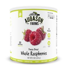 The Augason Farms Freeze Dried Whole Raspberries 8 oz #10 Can are a healthy and delicious snack, rich in Vitamin C. They enhance any recipe with tart, full-bodied raspberry flavor. Rehydrate them for