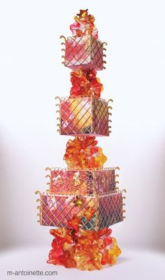 Sugar glass tower wedding cake