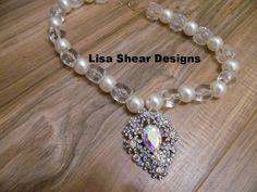 Large Chunky White Pearls Bling AB Crystal by gypsycowgirlchic Use code MEMORIALDAY to save 50% off  $20 minimum purchase coupon good till 6/1/16