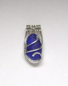 Sea Glass Jewelry - Sterling Cobalt Blue Sea Glass Pendant via Etsy.