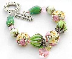 RESERVED FOR ANNA  Green Pink Flowers by shalayneoriginals on Etsy
