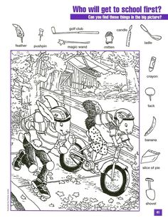 Racing to School Hidden Picture Coloring Page Hidden Picture Games, Hidden Picture Puzzles, School Coloring Pages, Colouring Pages, Coloring Books, Hidden Object Puzzles, Hidden Objects, Coloring For Kids, Adult Coloring