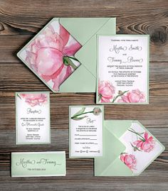 Watercolor painting Invitation Mint Wedding by DecorisWedding