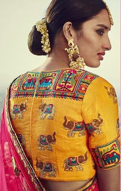 Beautiful Rajasthani thread work yellow silk saree blouse for weddings and ceremonies The total cost includes price of the raw material,stitching charges and detailed handmade craftsmanship rates. -Can be Customized for Blouse Designs Silk, Saree Blouse Patterns, Designer Blouse Patterns, Churidar, Anarkali, Lehenga Choli, Stylish Blouse Design, Stylish Sarees, Collor