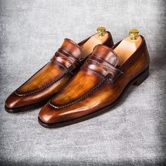 Mens brown penny loafers luxury slip on shoes... | PAUL PARKMAN ® The Art of Handmade Shoes For Men