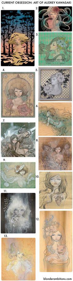 Art by Audrey Kawasaki. Japanese inspired art. Feminine. Erotic. Decor. Beautiful art. #blonderambitions