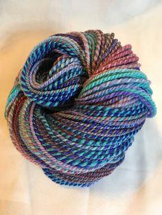Hand spun yarn. Handpainted Hand spun Falkland Wool Skein