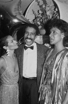 Richard Pryor and Phylicia Rashad pay a visit to Debbie Allen in her dressing room on Broadway on April 27, 1986, after Debbie opened in the return of Sweet Charity. Photo by Ezio.