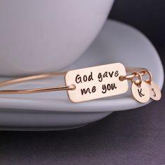 God Gave Me You - Gold Bangle Bracelet by Georgie Designs