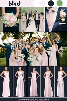 Blush bridesmaid dresses color inspiration(blush, navy blue and green). 500+ styles, custom made, under $100, all sizes, fast shipping. #colsbm #bridesmaids #weddings #weddingideas #blushwedding