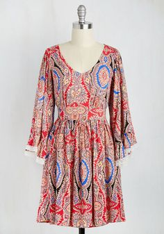 Cute Plus Size Dress in Red Paisley