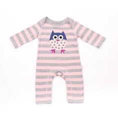 Grey pink owl sleepsuit