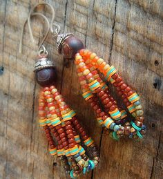 Spicy South West Mix Glass Beaded Loop Earrings by yuccabloom, $41.00