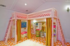 Custom IKEA Loft Bedroom Ideas for Kids with Pink L Shape Bunk Beds Dream Home,for my dream home,For the Home,Girls bedroom ideas,HOME is where the