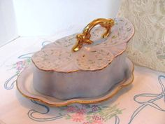 Victorian Porcelain Cheese Keeper / Lidded by VintageLoversShop, $42.50