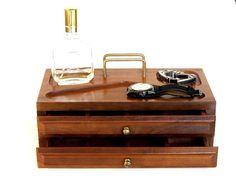 Vintage Men's Valet Box Wood Office Desk Organizer by recreated1