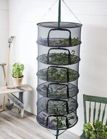 Dry all your garden herbs at once on this super-sized hanging drying rack! The Stack!t features six trays and breathable mesh for great airflow. Hanging Drying Rack, Herb Drying Racks, Growing Herbs, Growing Vegetables, Gardening For Beginners, Gardening Tips, Flower Gardening, Gardening Courses, Gardening Gloves
