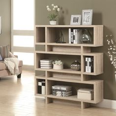 """Monarch Specialties I3201 Natural Reclaimed Look 55""""H Modern Bookcase"""